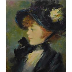 Framed oil on canvas portrait painting of a young woman signed by artist Jose Puyet and titled verso