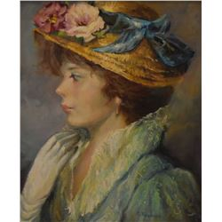 """Framed oil on canvas portrait painting of a young woman, artist signed, 17"""" X 14"""""""