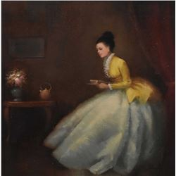 """Antique gilt framed oil on canvas painting of a young woman in her parlour signed by artist, 12"""" X 1"""