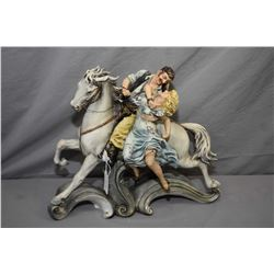"""An Italian made Borsato porcelain figurine of a romance cover style couple 12 1/2"""" in height"""