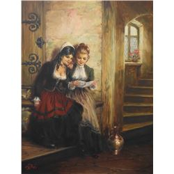 Framed original oil on canvas painting of two young ladies reading a letter signed by artist Willi d