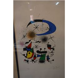 """Framed limited edition coloured lithograph pencil signed by artist Joan Miro, 24"""" X 16"""""""