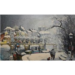 Framed acrylic on canvas painting of Paris in the 60's signed by artist Alfred Palmero, Paris 1967,