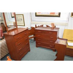 Imperial maple bedroom suite including four drawer mirrored highboy, five drawer lowboy, single draw