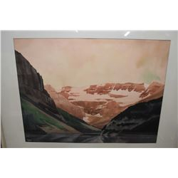 """Framed original watercolour painting of a mountain pass signed by artist Mel Heath '68, 16"""" X 21"""""""