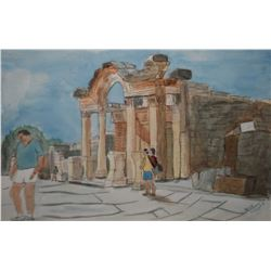 "Framed original watercolour of tourist in a Greek setting signed by artist, Wilf Walker, 10"" x 14"""