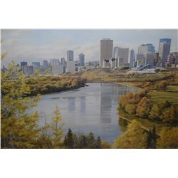 Framed limited edition print of Edmonton riverside cityscape by artist Isabelle Levesque, 139/700