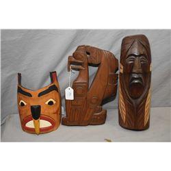 """Three hand made Haida carvings including cedar plank marked """"Thunderbird/Killer Whale"""" 12"""" in length"""