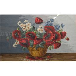 """Gilt framed needlework featuring poppies and daisies, signed A. Albrecht, 21"""" X 31"""""""
