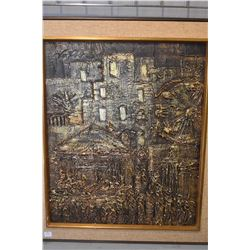 """Framed bas relief copper toned abstract fair ground scene, 24"""" X 20"""""""