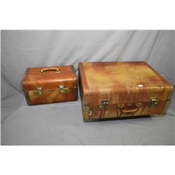 Set of three graduated pieces of vintage luggage including hard cover suitcase with hanger overnight