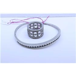Ladies sterling silver and diamante style gemstone hinged bracelet and a sterling and pave diamante