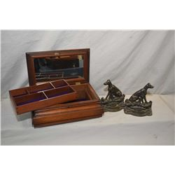 Antique Georgian mahogany jewellery casket and a pair of heavy dog motif cast bookends