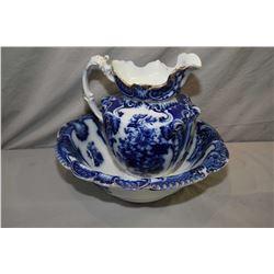 Antique Flow blue wash basin and water jug marked Royal semi-porcelain