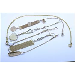 Selection of assorted gold filled pocket watch chain and mess fobs