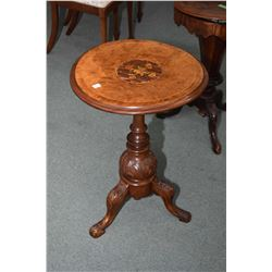 Antique center pedestal wine table with burl and inlaid top, note warpage to top