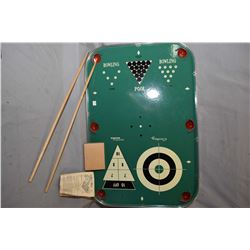Vintage table top multi game including bowling, pool, curling and shuffleboard, made by Eagle Toys L