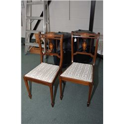 Pair of matching antique Sheraton side chairs with inlaid back center panels and delicate turned sup