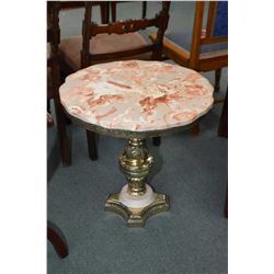 Simulated marble center pedestal occasional table