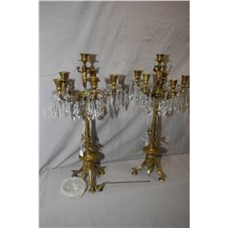 Pair of six branch brass figural candlesticks, cherub and angel motif with hanging lustres and glass