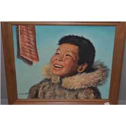 Framed acrylic on board portrait painting of an Inuit child signed by artist M. Trasher (Mona Thrash