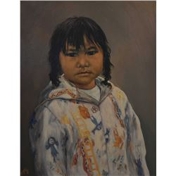 """Framed oil on canvas portrait painting titled on verso """"Katsiak, Arctic Bay"""" signed by Inuit Gabriel"""