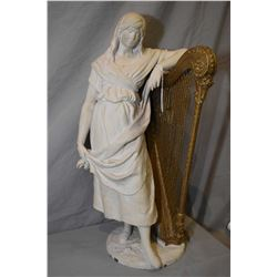 """Antique bronze figure of a lady with harp painted white, 21"""" in height"""
