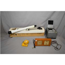 Selection of vintage collectibles including Vivitar 928 telescope on tri-pod, McClintock electric cl