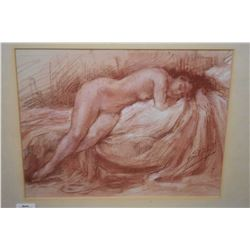 """Original sanguine chalk drawing of a nude by French artist Yves Diey, 8"""" X 10"""""""