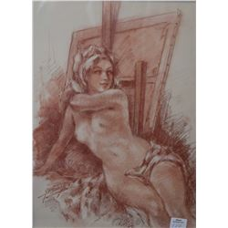 """Original sanguine chalk drawing of a nude by French artist Yves Diey, 14"""" X 10"""""""
