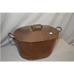 """Antique lidded copper boiler with hand hammered handles, 21"""" in length"""
