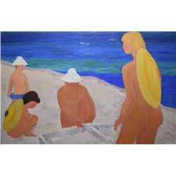 """Framed acrylic on canvas painting of a nude beach scene by artist Constantin Dipse, 26"""" X 38"""""""
