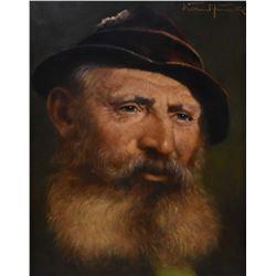 "Gilt framed oil on board portrait painting of a Eastern European gentleman, artist signed, 9"" X 7"""
