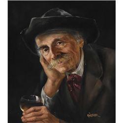 Gilt framed oil on board portrait painting of a gentleman drinking wine, signed by artist Gartner, 1