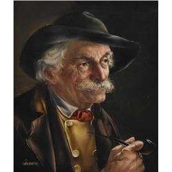 Gilt framed oil on board portrait painting of a gentleman smoking a pipe, signed by artist Gartner,