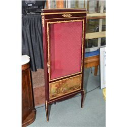 French style single door corner display cabinet with hand painted lower panel, attached decorative o