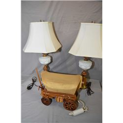 Pair of turned wood and milk glass table lamps and a chuck wagon motif television lamp