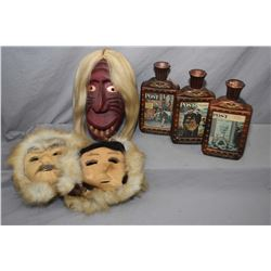 "Hand carved mask titled ""Old Broken Nose"" by carved John Elliott, six nations, 11 1/2"" in length, tw"