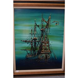 """Framed original acrylic on board painting titled on verso """"Spanish Galleon"""" by artist Stuart, 29"""" X"""