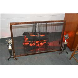 Vintage electric fireplace insert, fireplace screen and andirons