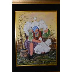 Gilt framed acrylic on canvas painting of a woman with geese signed by Slovak artist Vesna Chetanova