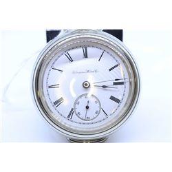 Hampden size 18, 17 jewel pocket watch. Grade 3 ball, serial #1281210, circa 1899. High end nickel f