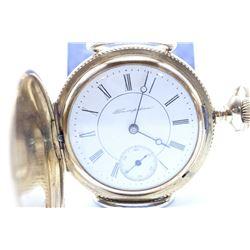 Hampden size 6, 11 jewel pocket watch. Grad 206, model 3, serial #1623093, circa 1901. Split nickel