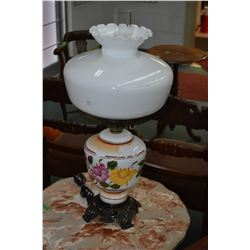Electric banquet style milk glass table lamp with hand painted floral bowl