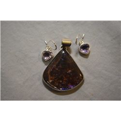 Sterling silver and ammonite pendant and a pair of sterling and amethyst gemstone earrings