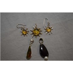 Selection of sterling silver and gemstone jewellery including golden amber sun motif earrings and ma