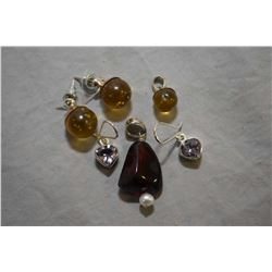 Selection of sterling silver jewellery including golden amber sphere pendant and matching earrings,