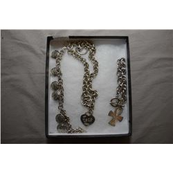 """Three pieces of sterling silver jewellery including two bracelets and 16"""" necklace with pendant with"""