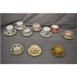 Ten china cups and saucers including Paragon, Royal Stafford, Tuscan, Royal Albert etc.