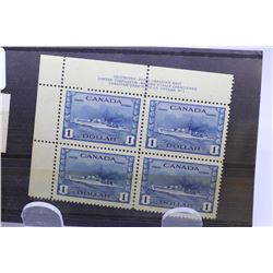 """Set of four joined Canadian one dollar postage stamps, """"Destroyer- Royal Canadian Mint"""" scott no. 26"""